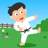 Karate Boy in the Park. Kids and sport series: a boy doing karate in a park. Eps file available Royalty Free Stock Photography