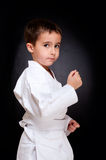 Karate boy sitting in white kimono Stock Image
