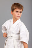 Karate boy in white kimono fighting Royalty Free Stock Images
