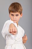 Karate boy in white kimono fighting Stock Photos