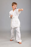 Karate boy in white kimono fighting Royalty Free Stock Photography