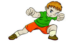 Karate Boy. Yellow haired little boy poses like karate ready to fight with enemy Stock Images