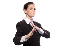 Karate business woman. In defence pose isolating on white background Royalty Free Stock Images