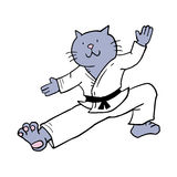Karate cat. Creative draw of karate cat Royalty Free Stock Photography