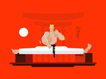 Karate character in the splits Stock Photos