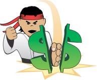 Karate Choping Dollar Royalty Free Stock Photos