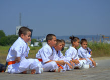 Karate  club children Royalty Free Stock Photography