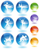Karate Crystal Icon Set Stock Photos