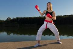 Karate de Fudo Dachi Fotos de archivo