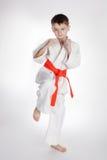 Karate de la práctica del muchacho imagenes de archivo