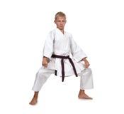 Karate del entrenamiento del muchacho Fotos de archivo libres de regalías