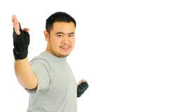 Karate del hombre en combate de la carrocería Imagen de archivo libre de regalías