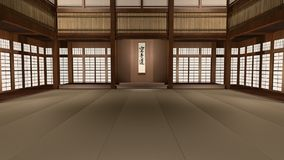 Karate Dojo 3D Animated Illustration Dolly Shot. Traditional Japanese Karate Dojo 3D Animated Illustration. Camera flies through martial arts school vector illustration