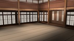 Karate Dojo 3D Animated Illustration. Traditional Japanese Karate Dojo 3D Animated Illustration. Camera flies through martial arts school vector illustration