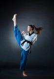 Karate dziewczyna z czarnym paskiem Zdjęcie Royalty Free