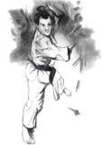 Karate - ejemplo (caligráfico) dibujado mano Fotografía de archivo