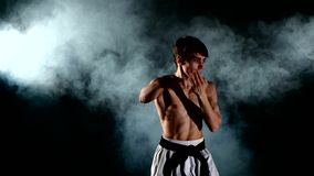 Karate- eller Taekwondo man med en naket torso och a stock video