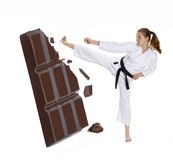 Karate en chocolade. Stock Foto