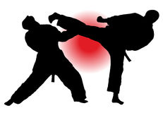 Karate fight. Two mans involved in karate duel Royalty Free Stock Images