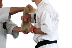 Karate fight ( kumite), sports series Royalty Free Stock Photo