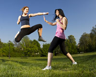 Karate fight between young girls Royalty Free Stock Image