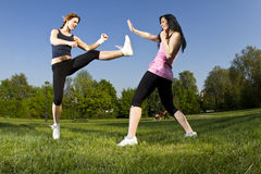 Karate fight between young girls Royalty Free Stock Images