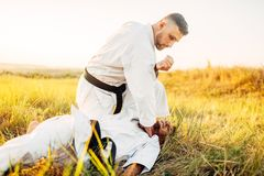 Karate fighter deals decisive kick to the opponent. Karate fighter deals a decisive kick to the opponent, training fight in summer field. Martial art fighters on royalty free stock photos