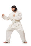 Karate fighter isolated on white Royalty Free Stock Photography
