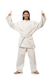 Karate fighter isolated on white Stock Photography