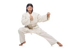 Karate fighter isolated on white Stock Images