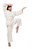 Karate fighter isolated on white Royalty Free Stock Images