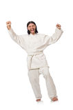 The karate fighter isolated on white Stock Images