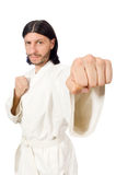 The karate fighter isolated on white Royalty Free Stock Photography