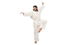 The karate fighter isolated on white Stock Photo