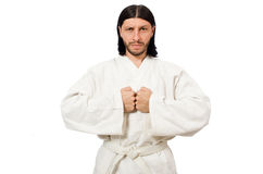 The karate fighter isolated on white Stock Photography