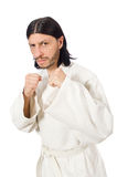 The karate fighter isolated on white Royalty Free Stock Photo