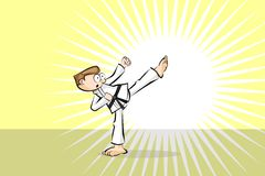 Karate fighter man Stock Images