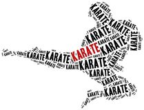 Karate fighter. Martial arts concept. Word cloud illustration Stock Images