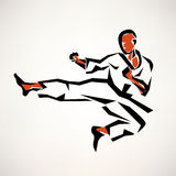 Karate fighter stylized symbol. Outlined sketch Royalty Free Stock Photo