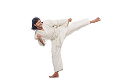 Karate fighter on white Stock Photo