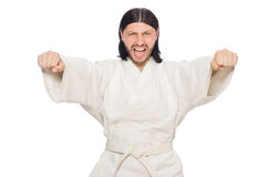 Karate fighter on white Royalty Free Stock Photos