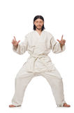 Karate fighter on white Stock Photos