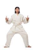 Karate fighter on white Stock Photos