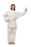 Karate fighter on white Stock Image