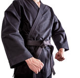 Karate fighters in black kimono Royalty Free Stock Photography