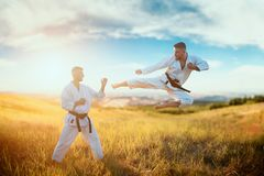 Karate fighters, kick in flight on training fight. In summer field. Martial art fighters on workout outdoor, technique practice stock photography