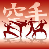 Karate fighters silhouettes. Royalty Free Stock Photos