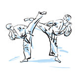 Karate fighters Stock Photography