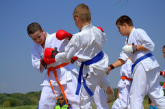 Karate fights demonstration Royalty Free Stock Photo