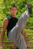 Karate-Frontseiten-Stoß Lizenzfreies Stockbild